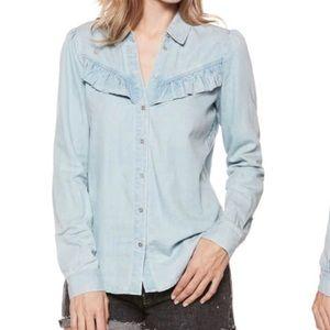 Paige layda denim ruffle shirt Sz XSmall. Western